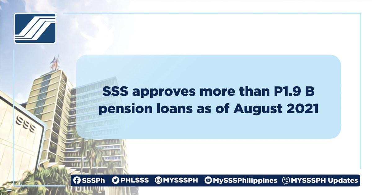 SSS approves more than P1.9 B pension loans as of August 2021