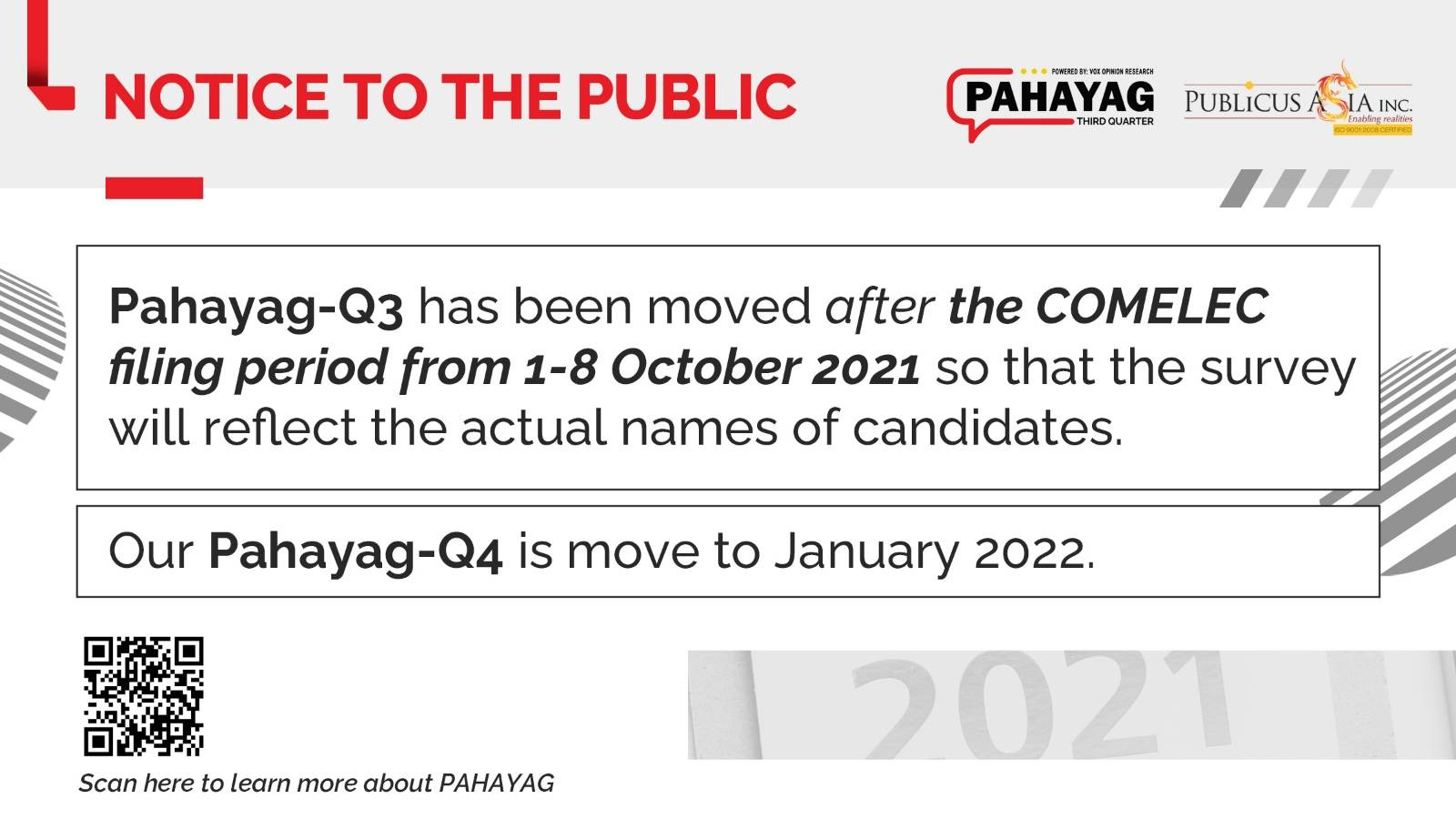 NOTICE TO THE PUBLIC PAHAYAG Q3