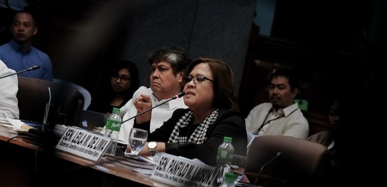 Senator Leila de Lima releases a statement following the termination of the inquiry on the spate of extrajudicial killings in the country.
