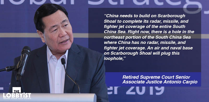 Carpio: China will take over Scarborough Shoal by 2022