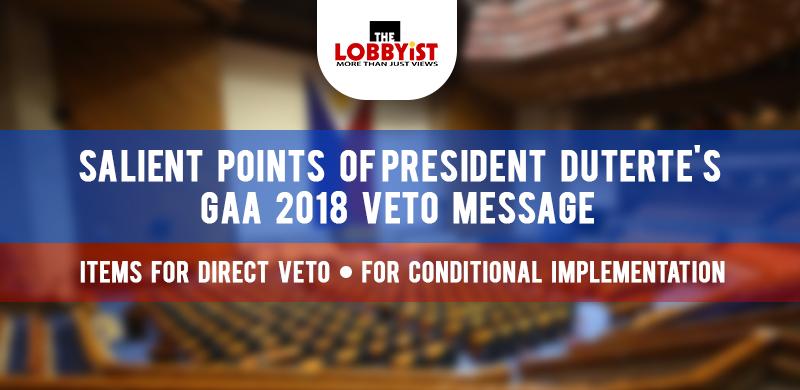 Salient Points os PRRD's GAA 2018 Veto Message